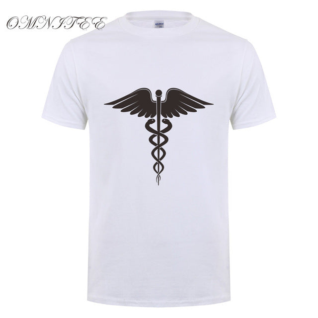 New Summer Caduceus T Shirt Men Short Sleeve Cotton Doctor Paramedic T-shirt Tops Camisetas Medicine Tshirt OT-814