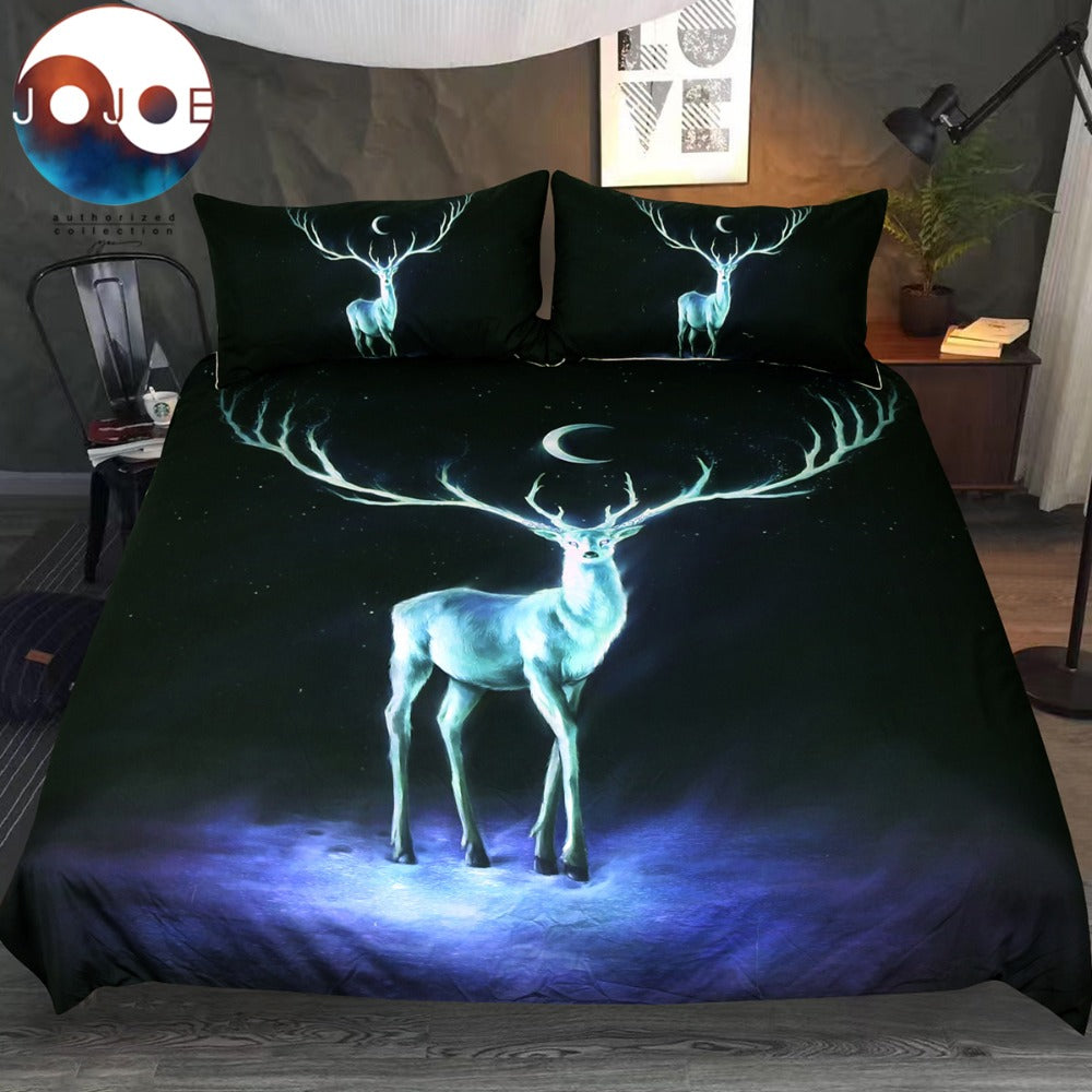Nightbringer Set Elk and Moon Duvet Cover With Pillowcase Deer Printed Bed