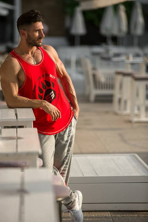 New 2018 Famous Brand Animal Letter Print Tank Top Men 6 Colors