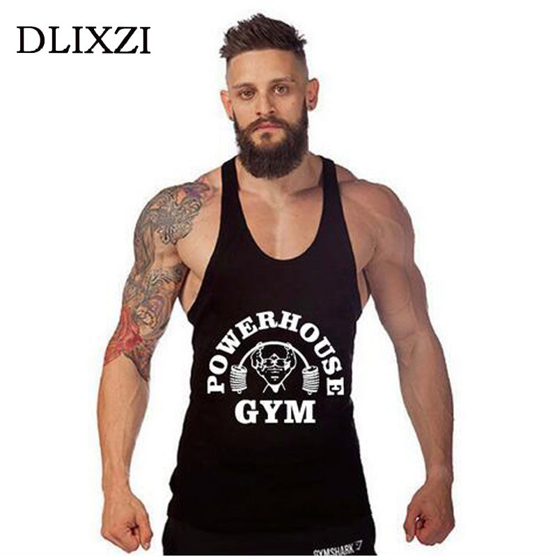 Summer Gyms Wear Sleeveless Vest Male Bodybuilding Tank Top Cotton Fitness Singlet W