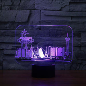 3D Led Vision 7 Colors Changing Las Vegas Building Table Lamp Bedroom Atmosphere Sleep Lighting Usb Decor Kids Gifts Night Light