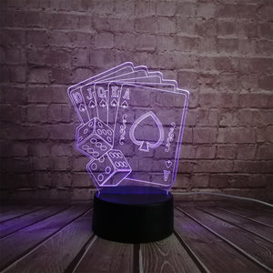 Creative 3D LED USB Lamp Magician Decoration TEXAS HOLD EM Dice Poker Spades Playing Card 7 Colors Changing