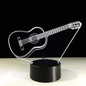 3D Light Electric Guitar Illusion Lamp LED 7 Colors Changing USB Touch Sensor Desk Light Night Lamp Friends Gift Drop Shipping