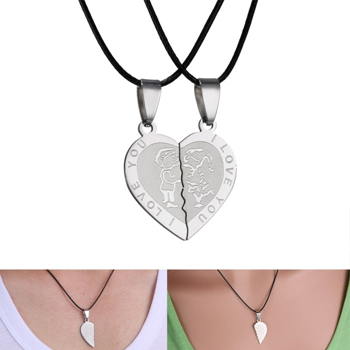 Men Women Couple Necklace I Love You Heart loving stainless steel Pendant Necklaces Valentine's Day necklace Jewelry gift