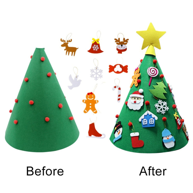3D DIY Felt Toddler Christmas Tree New Year Kids Gifts Toys Artificial Tree Xmas Home Decoration Hanging Ornaments
