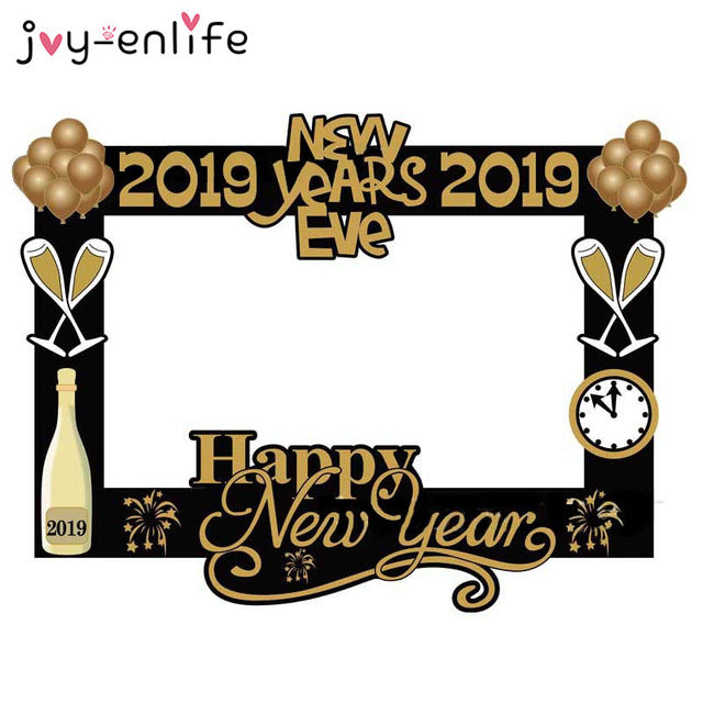 Christmas Party 2019 Clipart.1set Creative New Eve 2019 Photo Booth Props Christmas New Year Decor Gold Glittering Photo Prop Xmas Party Supplies