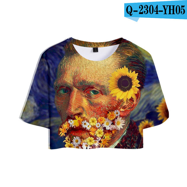 Van Gogh 3D Printed Women Sumemr Cool Crop Tops Short Sleeve O-Neck Tshirts Fashion Casual Trendy Tee Shirts Girls Sexy Wear