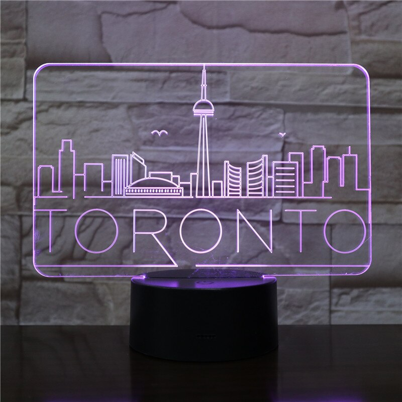 Usb 3d Led Night Light City Toronto Atmosphere Lamp Decoration RGB Kids Baby Gift
