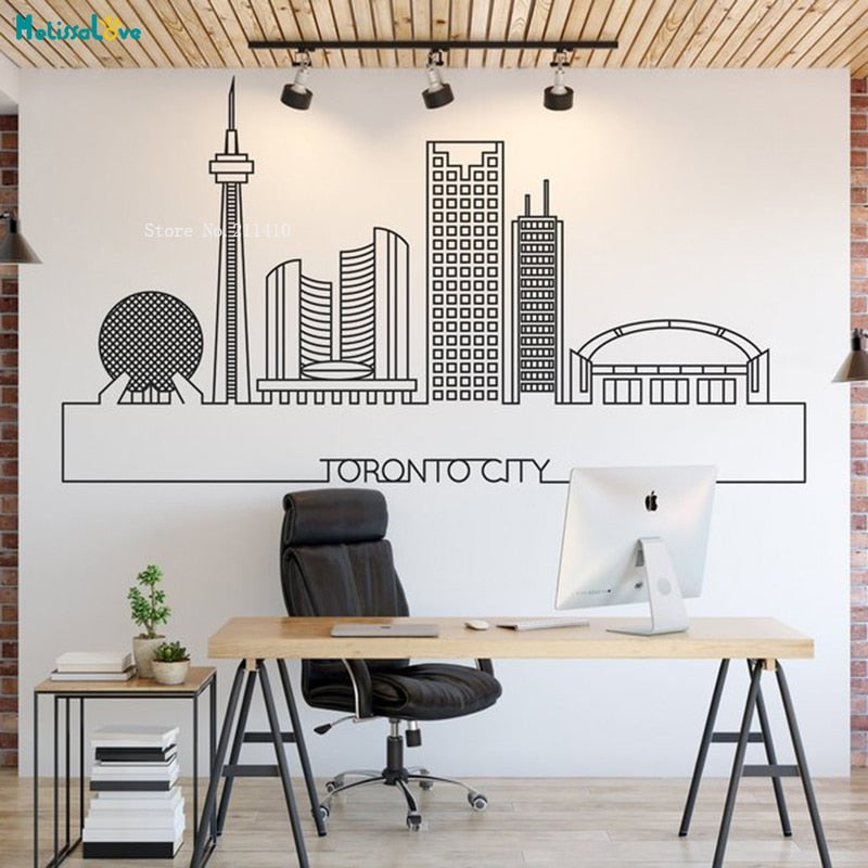 Toronto Skyline City Wall Sticker Decals Cityscape Art Home Decoration