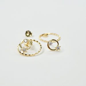 Gold Round Star Stud Earrings