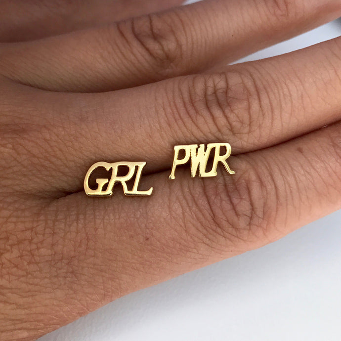 GRL PWR Girl Power Earring Stud Gold