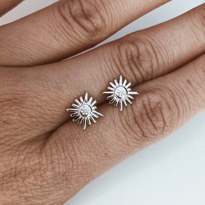 Sun Stud Earrings Silver