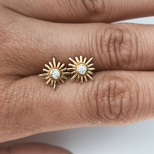 Sun Stud Earrings Gold