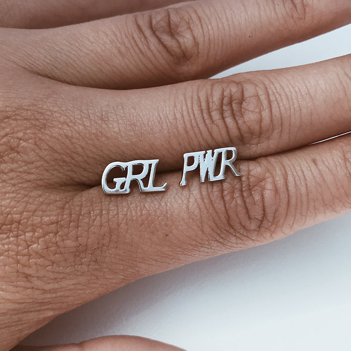 GRL PWR Girl Power Earring Stud Silver