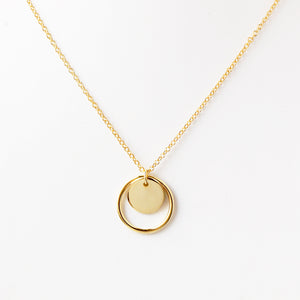 Round Circle Necklace Gold