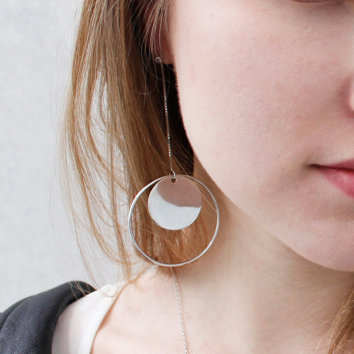 Round Circle Earring Silver