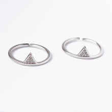 Silver Triangle Ring White Crystal