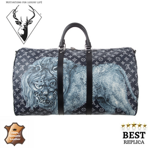 replica-Louis-Vuitton-CHAPMAN-BROTHERS-LION-SAFARI-KEEPALL-DUFFLE-motivations-for-luxury-life