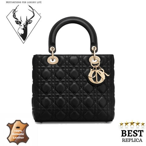 Replica-Lady-Dior-LAMBSKIN-BLACK-motivations-for-luxury-life