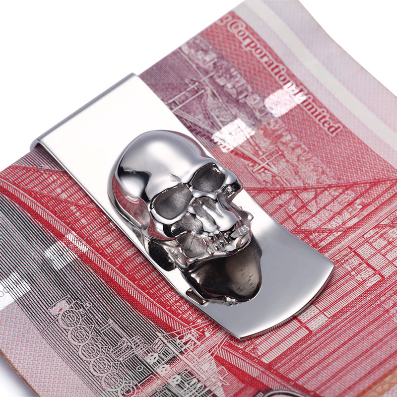 Skull Designs Men Sliver Money Clip