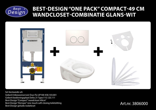 "[3806000] Best-Design ""One pack"" Compact-49 cm wandcloset-combinatie wit"