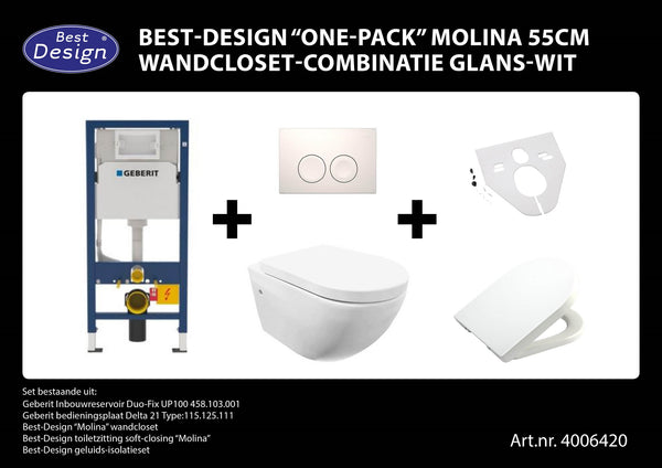 "[4006420] MOLINA""One-pack"" GEBERIT all in wandcloset-combinatie Wit"