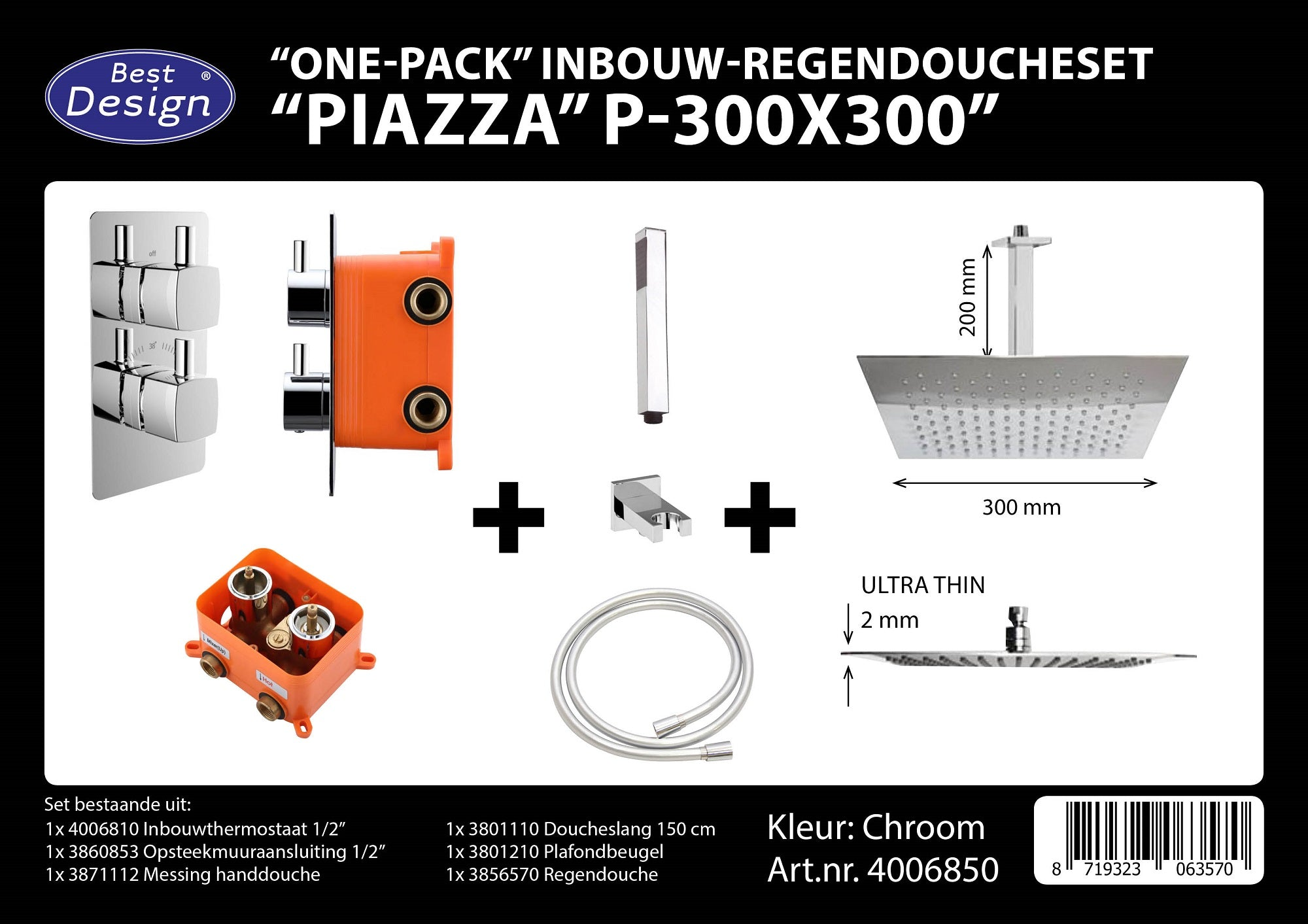 "[4006850] Best-Design ""One pack"" inbouw-regendoucheset & Inb.box  ""Piazza vierkant P-300x300"""