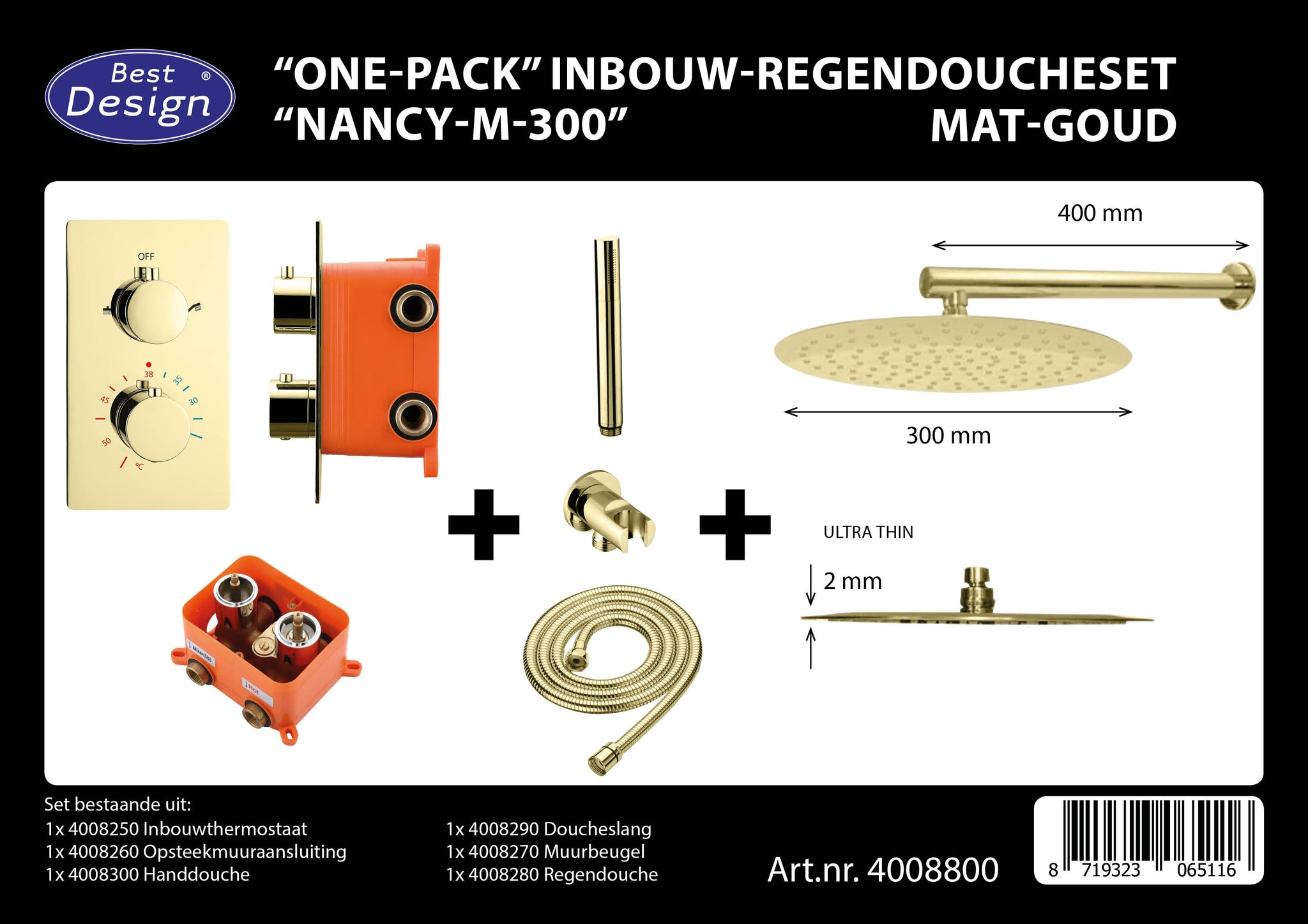 "[4008800] Best-Design ""One-Pack"" inbouw-regendoucheset ""Nancy-M-300"""