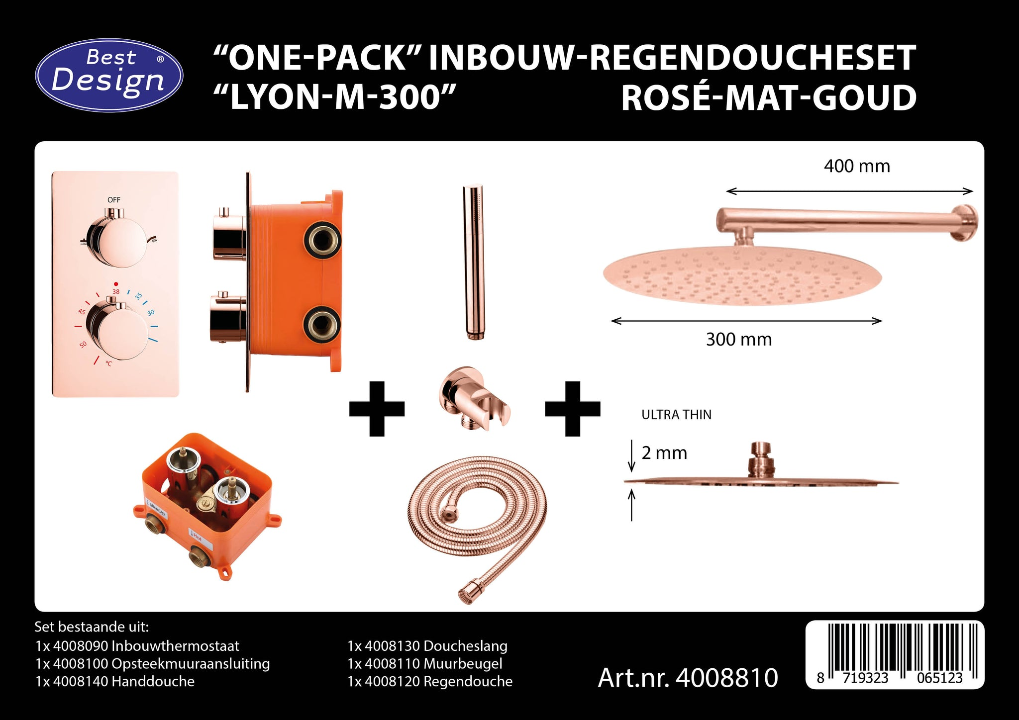 "[4008810] Best-Design ""One-Pack"" inbouw-regendoucheset ""Lyon-M-300"""