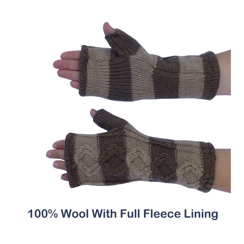 Womens Knit Gloves. Fingerless Gloves with Thermal Fleece Lining ...