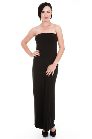 Basic Black Slim-fit Boobtube Maxi Dress