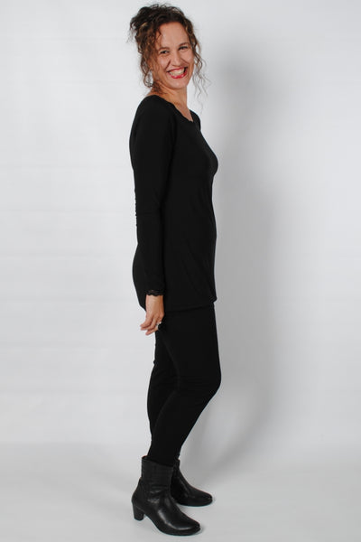 Basic Black Long Sleeve Cami with Lace Detail