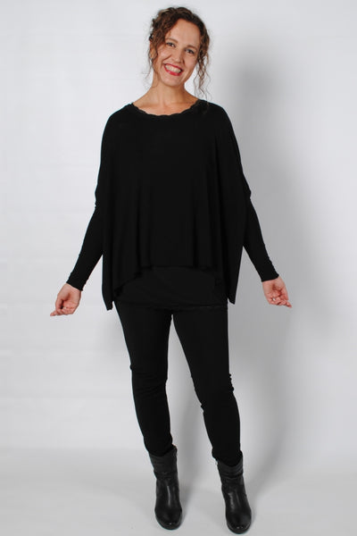 Basic Black Long Sleeve Bernie Top