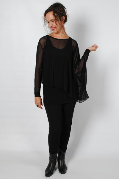 Basic Black Asymmetrical Colette Mesh Top