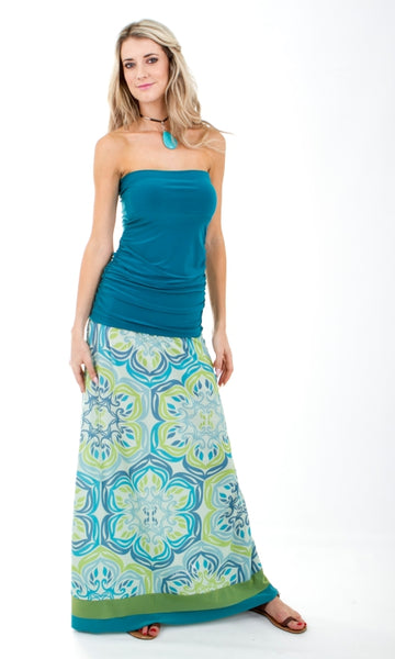 Signature Blue & Green Maxi Skirt with Trim