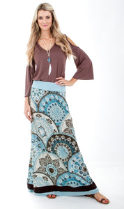 Signature Blue & Brown Maxi Skirt