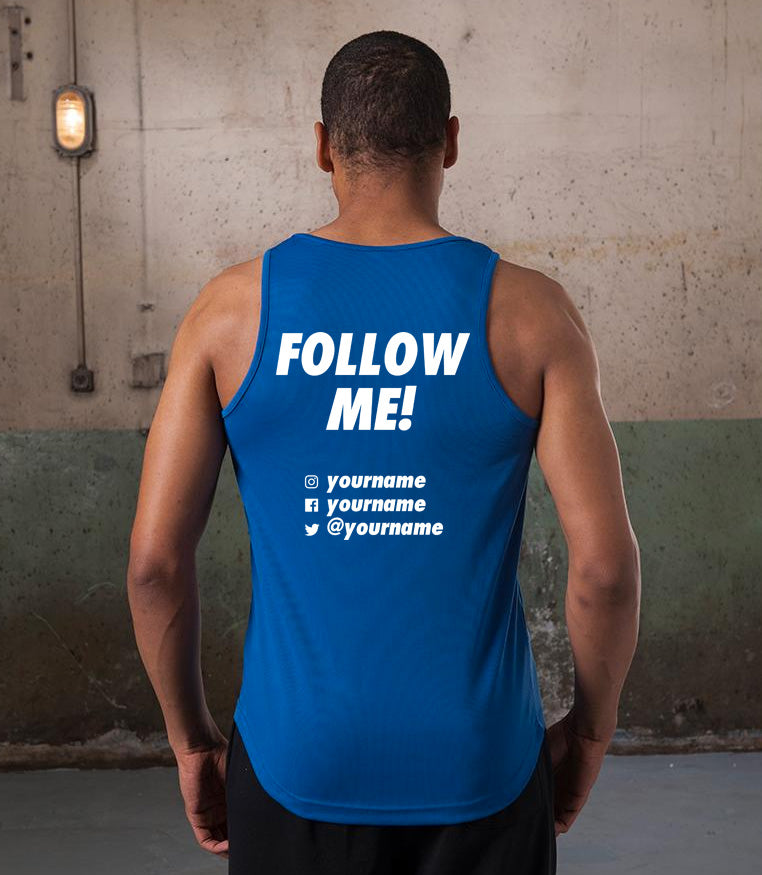 """FOLLOW ME!"" customised running vest with your social media profiles"