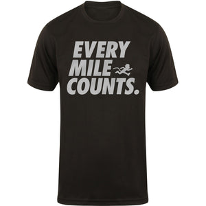 """EVERY MILE COUNTS"" mens reflective print technical top"