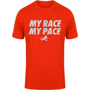 """MY RACE MY PACE"" mens reflective print technical top"