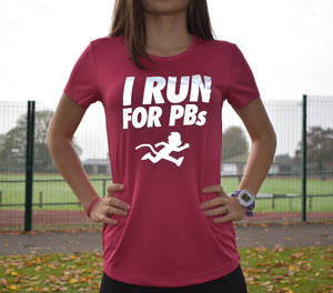 """I RUN FOR PBs"" reflective print technical top"
