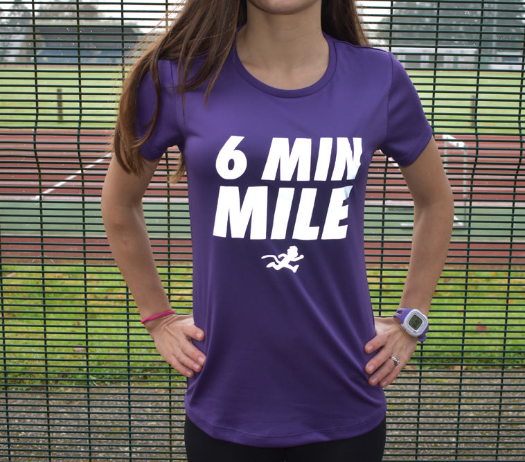 """6 MIN MILE"" reflective print technical top"