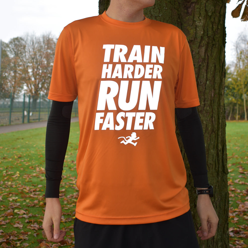 """TRAIN HARDER RUN FASTER"" reflective print technical top"