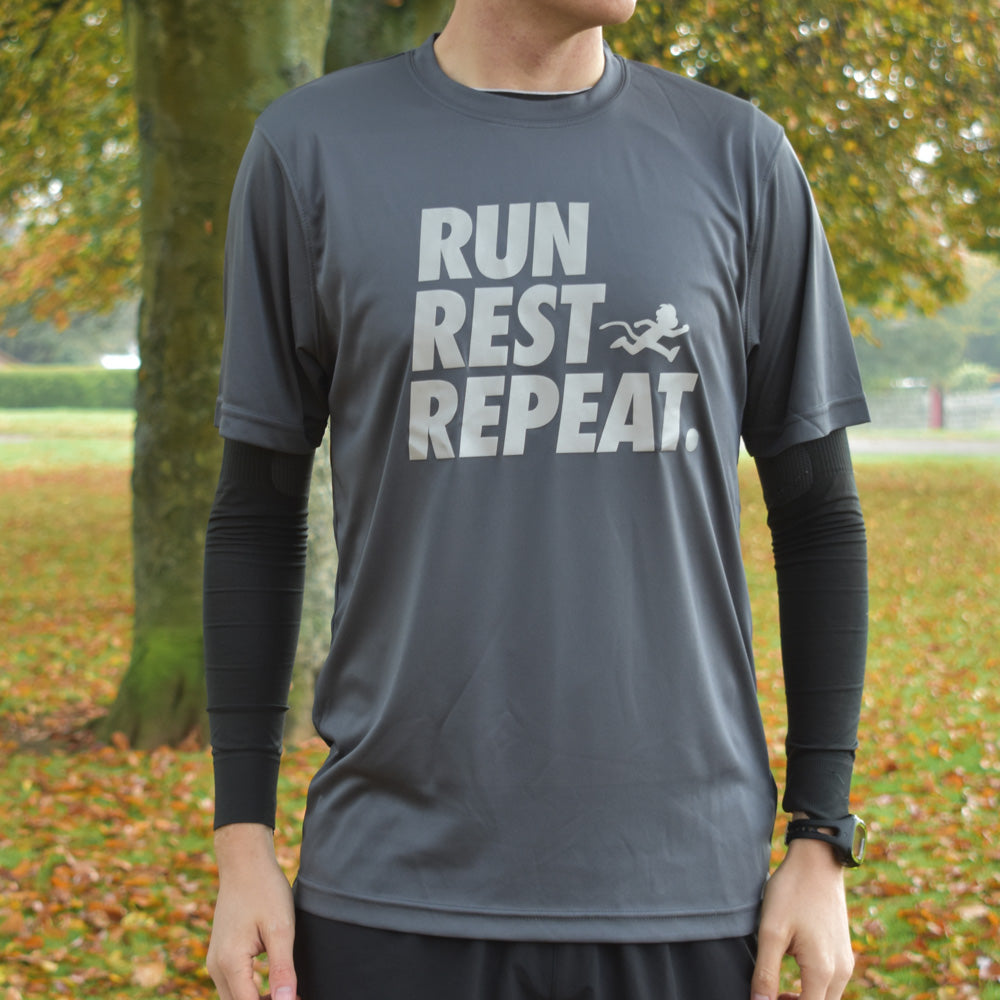 """RUN, REST, REPEAT"" reflective print technical top"
