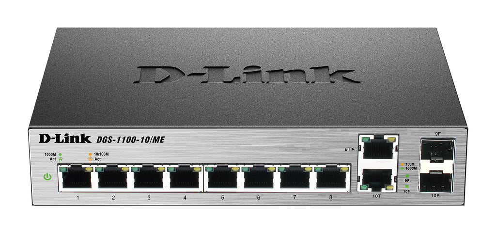 Dlink 8-port 1000Base-T Easy Smart gigabit Switch with 2 combo 100/1000Base-T/SFP ports, IPv6 support, MetroEthernet switch