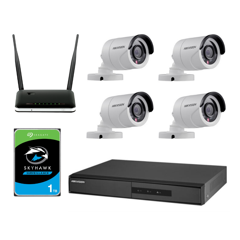 Digital CCTV Surveillance Bundle (Bundle of Safety) with Bullet Cameras & Router