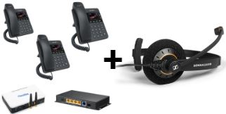 Telephony Beginner Bundle + Sennheiser Headphone (Includes Switch, PBX & Gateway, Three IP Phones)