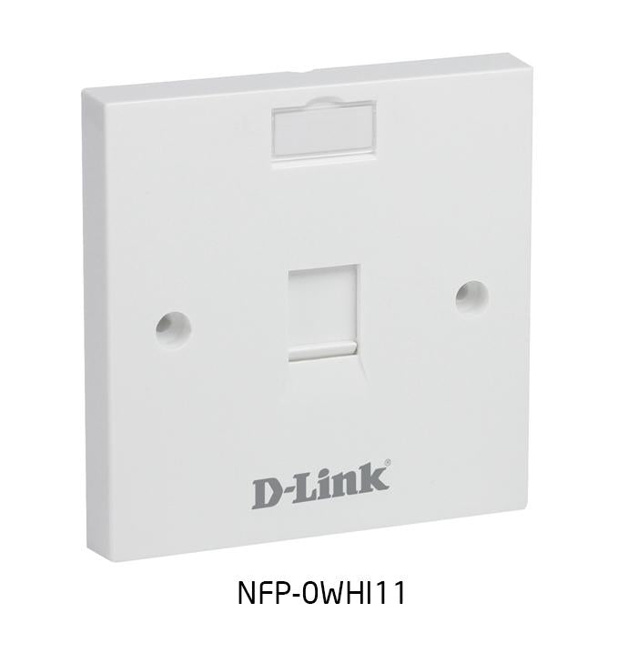 Dlink Single Faceplate Accepts One Keystone Jack with Shutter & ID Plate - 86*86 mm - White Colour - Square