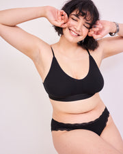 Vest, T-Shirt Bra & Knicker Set - Black