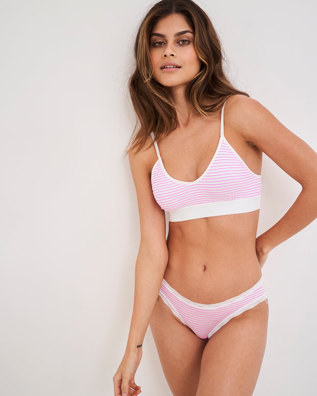 T-Shirt Bra & Knicker Set - Pink Candy Stripe