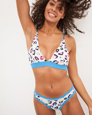 Triangle Bra & Knicker Set - Turquoise Multi Leopard